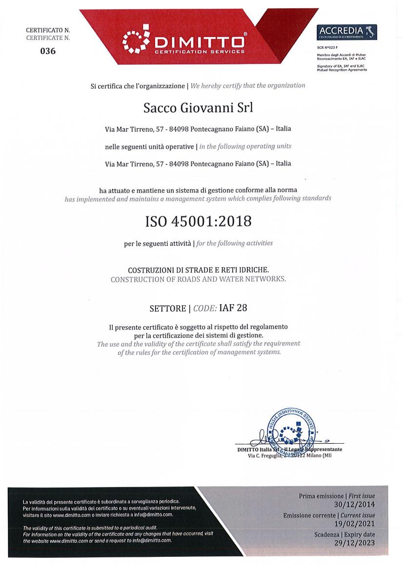 Cert. ISO 45001 2018